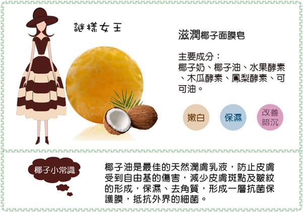 椰子面膜皂,酵素皂,洗臉,美白